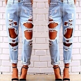 Skinny Fitted Denim Stretch Trousers Destroyed Damage Ripped Jeans