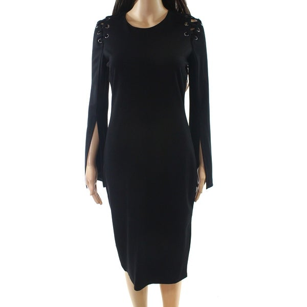 8e23a2b13506e Shop Bardot Deep Black Womens Size 6 Lace-Up Long-Sleeve Sheath ...