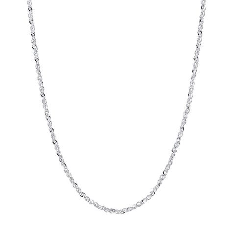 14K White Gold Rope Chain Necklace 0.9mm, 16-20""