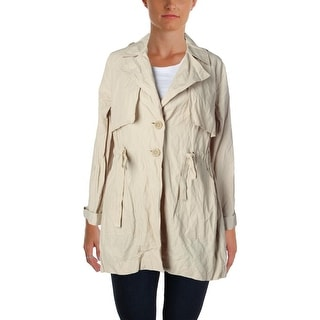 Sanctuary Womens Metallic Twill Trench Coat