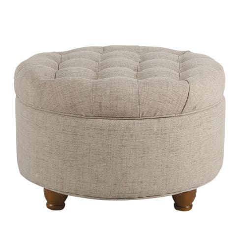 Copper Grove Lamentin Light Tan Tufted Large Round Storage Ottoman