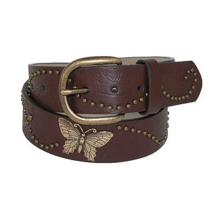 Rogers-Whitley Girls' Vintage Floral Print Belt with Butterfly Conchos