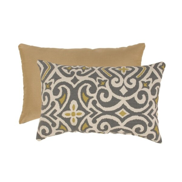 "18.5"" Graphite & Chartreuse Damask Rectangular Throw Pillow"