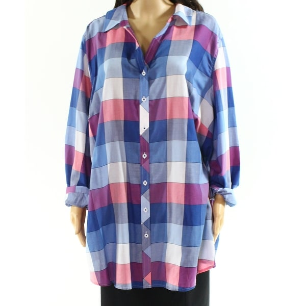 33b6a373f8eea4 Shop Foxcroft Blue Womens Size 24W Plus Split Neck Button Down Shirt - Free  Shipping On Orders Over $45 - Overstock - 27884806
