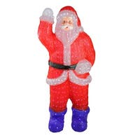 3.75' Lighted Commercial Grade Acrylic Santa Claus Christmas Display Decoration - RED