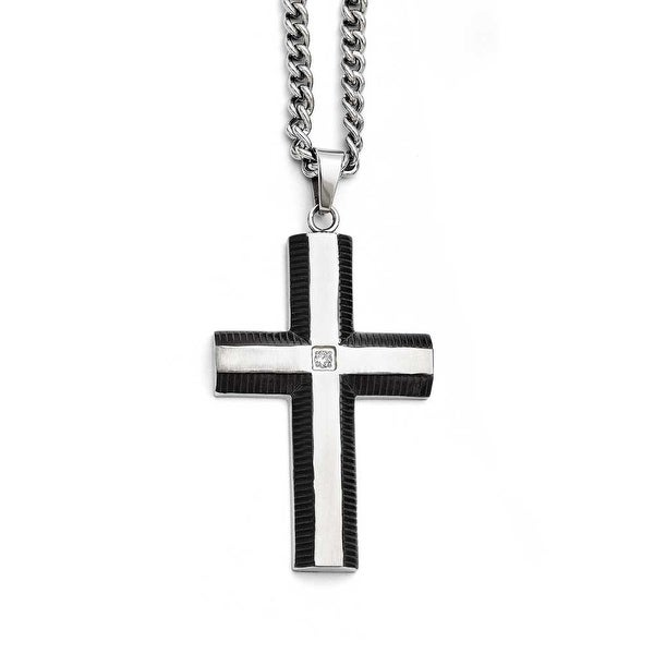 Chisel Stainless Steel Black IP-plated Cross with CZ Polished Necklace (4 mm) - 22 in