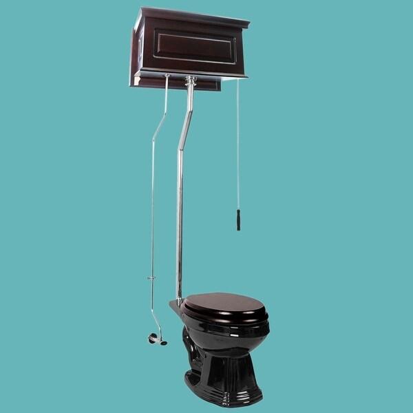 Dark Oak High Tank L-Pipe Toilet Elongated Black Bowl | Renovator's Supply