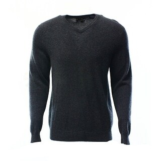 Club Room NEW Dark Charcoal Gray Mens Size 2XL V-Neck Cashmere Sweater