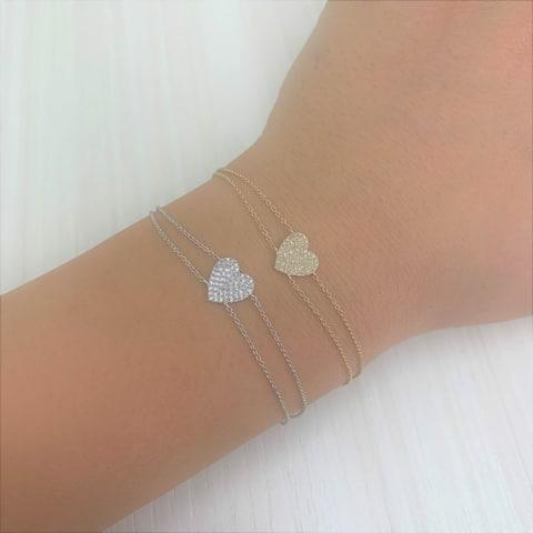 Joelle Diamond Pave Heart Bracelet 14k Gold Gifts for Her