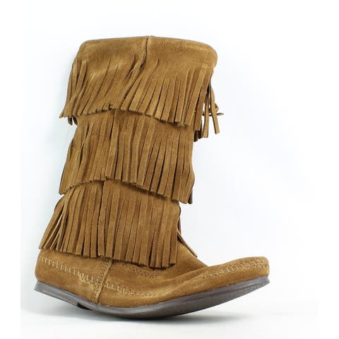 Minnetonka Womens 3 Layer Fringe Dusty Brown Moccasin Boots Size 10