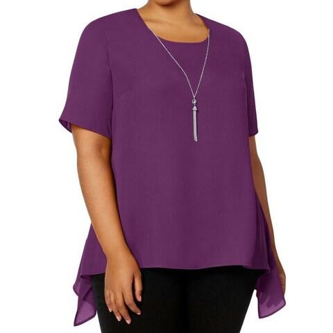 NY Collection Purple Women 3X Plus Necklace Peplum-Back Knit Top