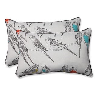 Set of 2 Blue and Coral Retweet Vermeil Outdoor Corded Throw Pillows 18.5""