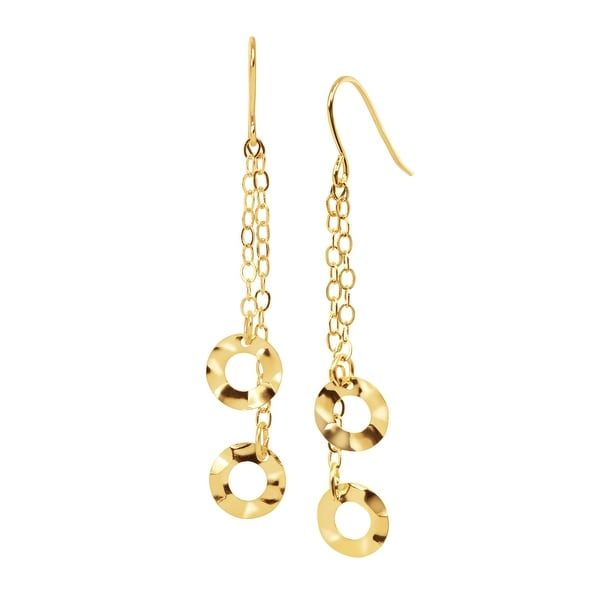 Eternity Gold Hammered Circle Chain Drop Earrings in 14K Gold