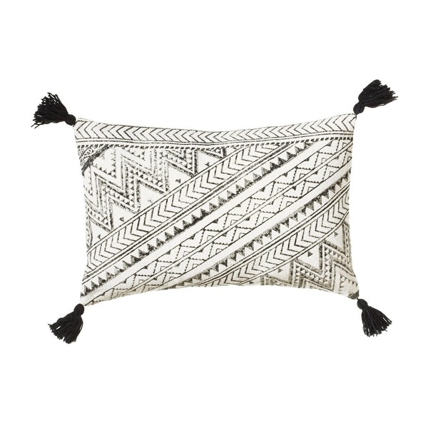 "24"" Black and White Block Print Patterned Decorative Rectangular Throw Pillow with Tassels"