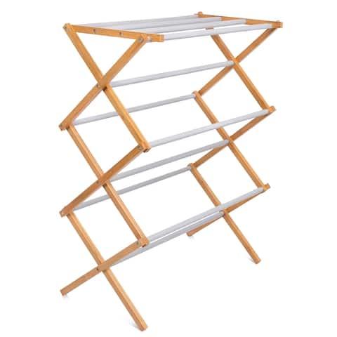 BirdRock Home Folding Steel Clothes Drying Rack - 3 Tier - Grey