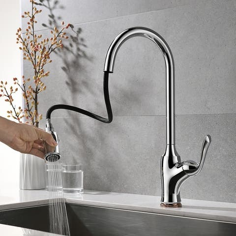 """Global Pronex Pull-Down Kitchen Sink Faucet Copper Mixer Tap Pull-out Silver Lead-free Kitchen Faucet - 22.8"""""""