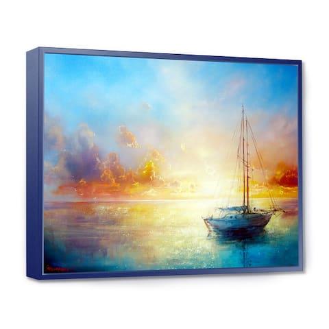 Designart 'Seascape Pier' Seascape Framed Canvas Art Print