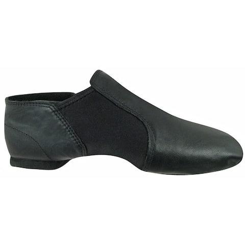 Girls Black Leather Split-Sole Neoprene Wrap Wide Jazz Shoes 10-4 Toddler