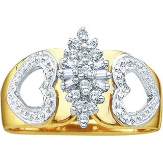 10kt Yellow Gold Womens Round Natural Diamond Double Heart Cluster Fashion Ring 1/6 Cttw - White