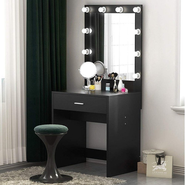 Charmant Makeup Vanity With Lighted Mirror, Dressing Table, Dresser Desk For Bedroom  (Stool Not