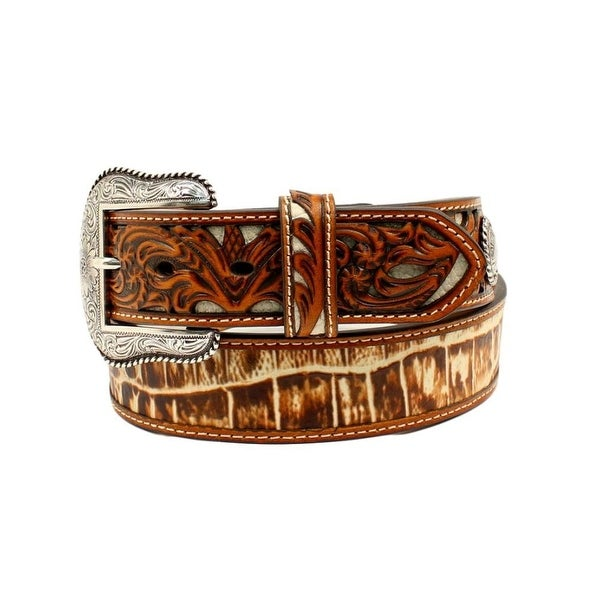 Nocona Western Belt Mens Leather Faux Croco Print Embossed