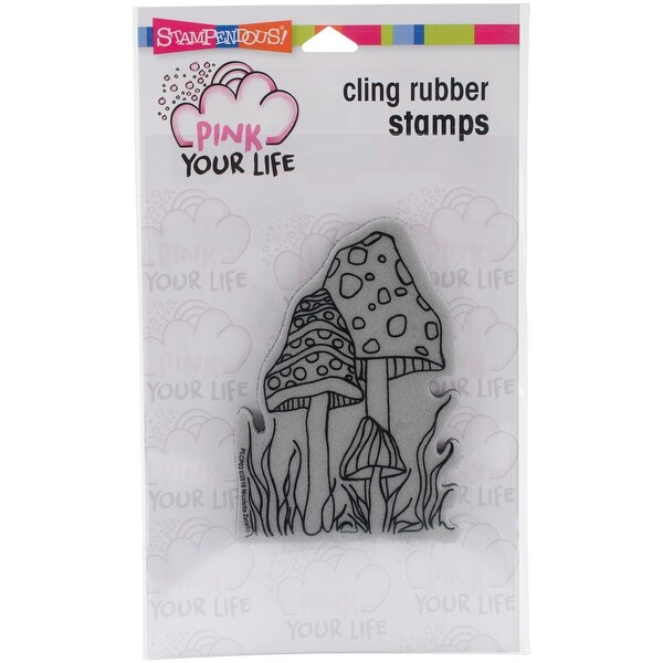 """Stampendous Pink Your Life Cling Stamp 6.5""""X4.5""""-Mushrooms"""