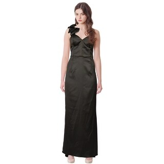 Mikael Aghal One Shoulder Satin Ruffle Evening Gown Dress - 8