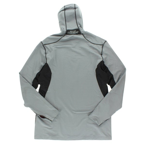 Nike Mens Pro Combat Hyperwarm Dri Fit Max Hooded Running Shirt Grey GreyBlack XL