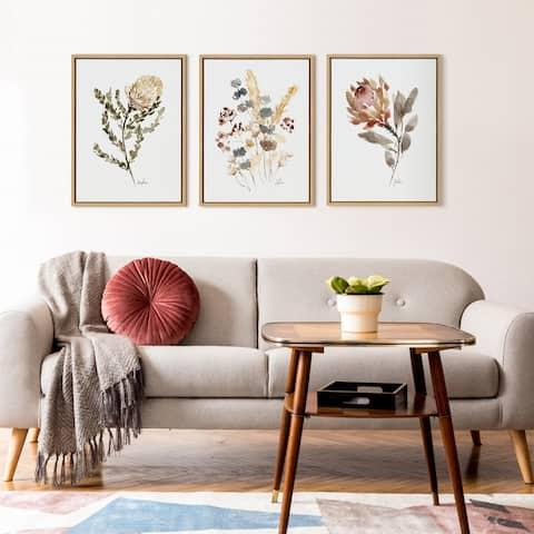 Kate and Laurel Sylvie Wild Salvia Framed Canvas by Sara Berrenson