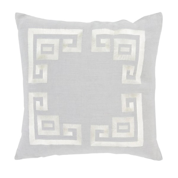 """""""20 Cool Gray and Lace Beige Contemporary Woven Decorative Throw Pillow – Down Filler"""