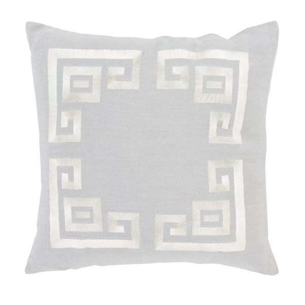"""18"""" Cool Gray and Lace Beige Contemporary Woven Decorative Throw Pillow – Down Filler"""