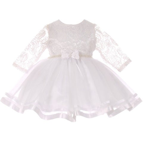 Baby Girls White Lace Tulle Rhinestone Pearl Flower Girls Dress S-XL