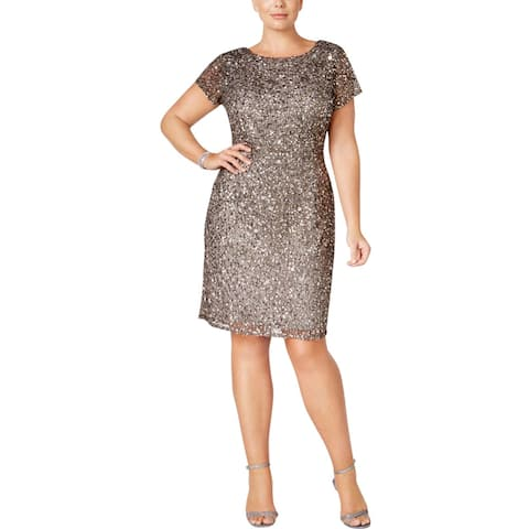Adrianna Papell Womens Plus Cocktail Dress Sequined Sheath