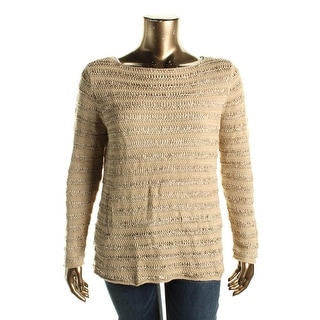 Lauren Ralph Lauren Womens Plus Pullover Sweater Boatneck Ribbon Knit