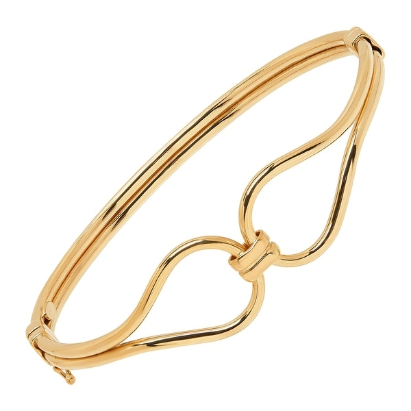 Just Gold Double Tube Hinged Link Bangle Bracelet in 14K Gold - Yellow