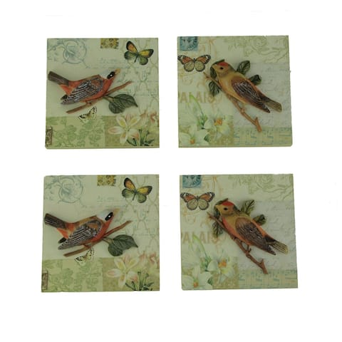 Colorful Ceramic 3D Birds On Branches Wall Decor Set of 4 - 5.5 X 5.5 X 0.75 inches