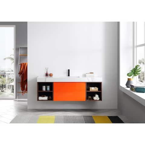 "MANAROLA 60"" Red Amber Wall Mount Modern Bathroom Vanity Set"