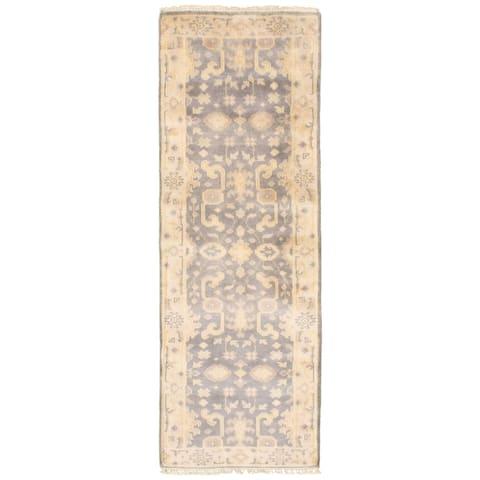 ECARPETGALLERY Hand-knotted Royal Ushak Grey Wool Rug - 2'8 x 8'0
