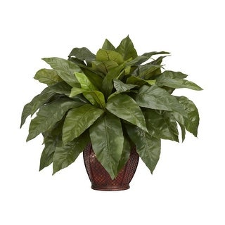 Nearly Natural Birdsnest Fern with Decorative Vase Silk Plant Green