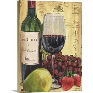 """Wine and Pear"" Canvas Wall Art"