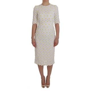 Dolce & Gabbana Dolce & Gabbana White Sunflower Ricamo Sheath Dress - it38-xs