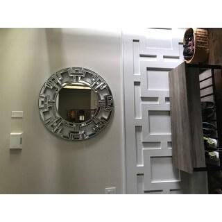 Abbyson Pierre Silver Round Wall Mirror