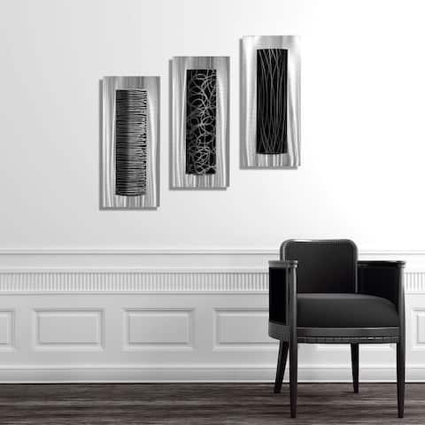 Statements2000 Silver/Black Metal Wall Art Accent Sculpture Modern Decor by Jon Allen (Set of 3) - Trifecta