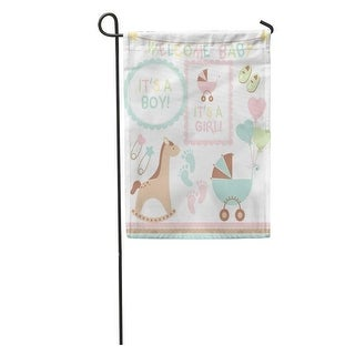 Shop Pink Welcome New Baby Announcement Border Infant Stroller Clipart Girl Garden Flag Decorative Flag House Banner 28x40 On Sale Overstock 31370751