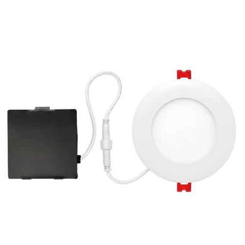 "Globe 91207 LED Recessed Slim/Round Lighting Kit, Frost, White, 4"" W"