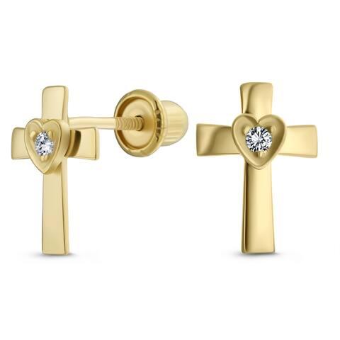 Religious Heart Cross Stud Earrings CZ Real 14K Gold Screwback
