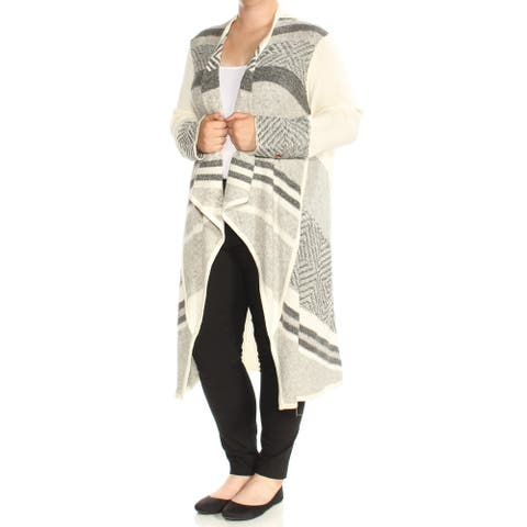 NYDJ Womens Gray Printed Sleeveless Open Cardigan Sweater Size XL