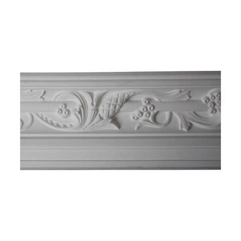 "Ravishing Cornice Crown Molding White Urethane 8 3/4"" H Julia Ornate With Sharp Design Clarity Renovators Supply"