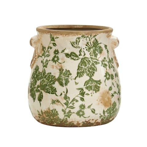 "6.5"" Tuscan Ceramic Green Scroll Planter"