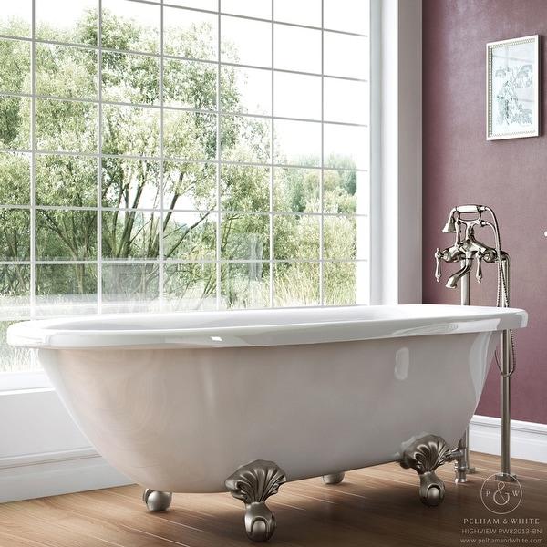 Pelham White Luxury 54 Inch Clawfoot Tub With Nickel Ball And Claw Feet
